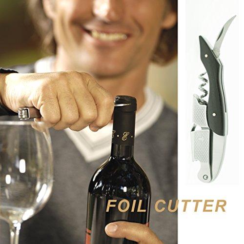 chef caron corkscrew deluxe waiters wine key foil cutter bottle cap opener ebony sommelier. Black Bedroom Furniture Sets. Home Design Ideas