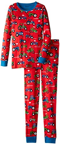 Hatley Little Boys' Pajama Set Overall Farm Tractors, Red, 7