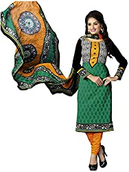 The Desi Attire Women's Crepe Unsticthed Dress Material (110_Green_40)
