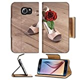 Luxlady Premium Samsung Galaxy S6 Edge Flip Pu Leather Wallet Case IMAGE ID: 27122042 Argentine tango shoes with a rose on wooden floor text space