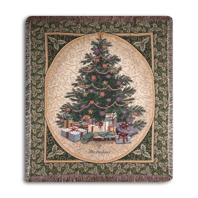 Personalized Christmas Tree Throw Blanket With Custom Embroidery front-519281
