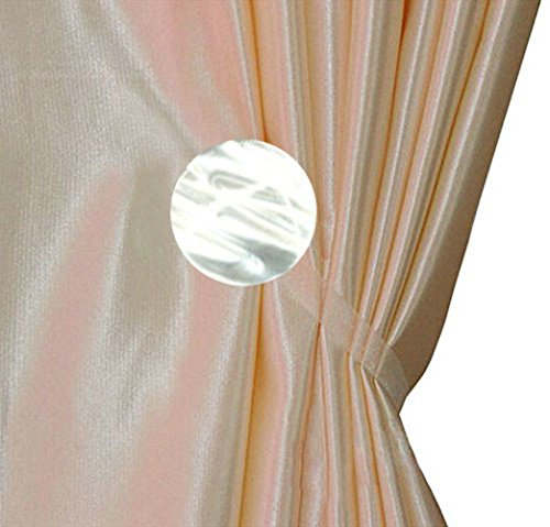 Ayygift 1 Pair Simple Round Curtain Buckle Magnetic Tieback Curtain Decor(White) (Magnetic Curtain Ties compare prices)