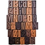 Letterpress Print Blocks by Tim Holtz Idea-ology, 35 Pieces, 1-Inch Letters and Numbers, Wood, TH93130