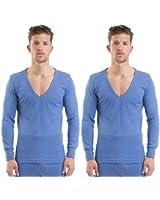 2COZEE - 2 Sous Vêtements Thermqiues Homme / Garçon T-Shirt Col V Manches Longues 8 x 1 Couleurs et Tailles