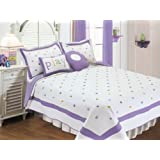 Textiles plus Poka Dots Quilt Set with 2 Cushions, Twin, Lavender