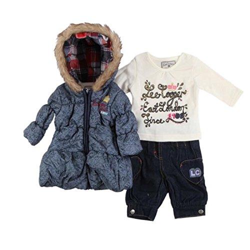 Lee cooper - ensemble trois pièces parka intérieur polaire, sous pull et jean - bébé fille - bleu