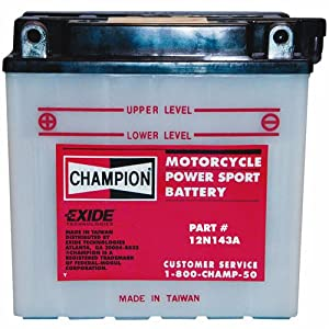 Exide Technologies 12V Powersport Battery 12N143a Lawnmower/Motorcycle Batteries