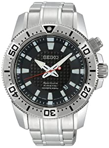 Seiko Stainless Steel Sportura Kinetic Diver Black Dial Link Bracelet