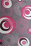 RUG ADDICTION 4' ft. x 6' ft. Kid's Bedrooom Area Rug with Circles in Silver and Pink Design Indoor Area Rug