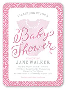 baby shower invitation fancy onesie girl pink toys