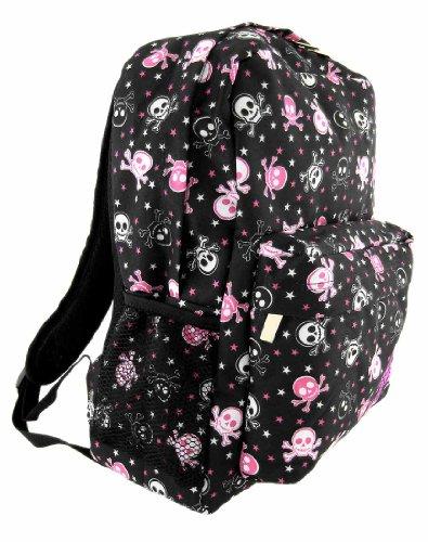 Black Pink Skull Crossbones Backpack