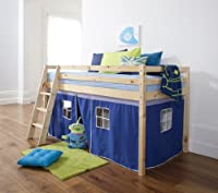 Cabin Bed Mid Sleeper Bunk with Tent Blue 5007