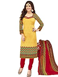 Kanchnar Women's Yellow and Red Mix Cotton Printed Casual Wear Dress Material,Diwali Great Indian Festival sale Traditional Clothing for Girls,Navratri Special Collection,Gift to Wife,Mom