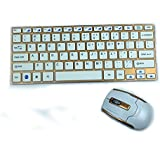 E-SDS 2.4GHz Wireless Keyboard And Mouse Combos Ultrathin Keyboard Computer Multimedia Slim Aluminum Design Kit...