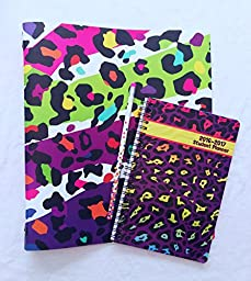 Neon Leopard Rainbow Three Ring Binder and Student Planner Set with Bonus Pencil