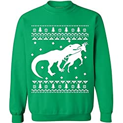 998f80b4 Awkwardstyles T-rex Attack Reindeer Sweater Ugly Christmas Holiday Dinasour  Shirts XL Green