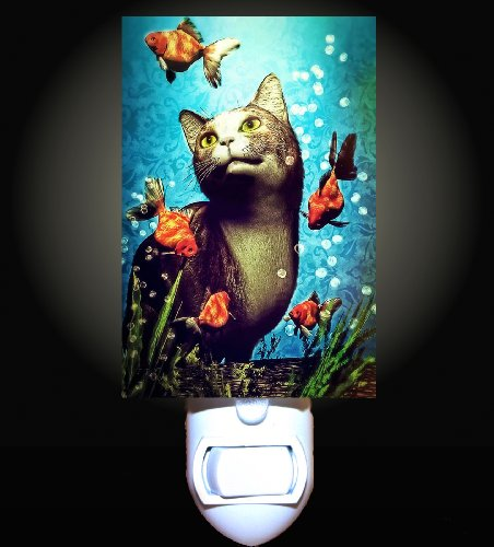Cat and Fancy Goldfish Decorative Night Light