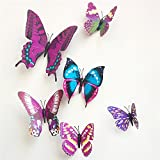 (3 Pack) KARP Removable 12 Pcs 3D Butterfly Wall Sticker Magnet Art Design Decorative Butterfly Sticker Decal For Home Decor - Purple Color