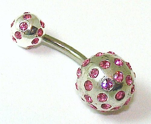 Belly Bars - Pierced & Modified - Body Jewellery - Tiffany Ball Sterling Silver Crystal Navel Bar - Pink