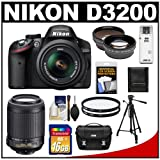 Nikon D3200 Digital SLR Camera & 18-55mm G VR DX AF-S Zoom Lens (Black) + 55-200mm VR Lens + 16GB Card + Case + Filters + Tripod + Telephoto & Wide-Angle Lens Kit
