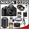 Nikon D3200 Digital SLR Camera & 18-55mm G VR DX AF-S Zoom Lens (Black) + 55-200mm VR Lens + 16GB Card + Case + Filters + Tripod + Telephoto & Wide-Angle Lens Kit