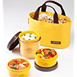 Lock & Lock Bento Lunch Box Set Multi Round w/3 Containers + Bag HPL746Y (Gelb)