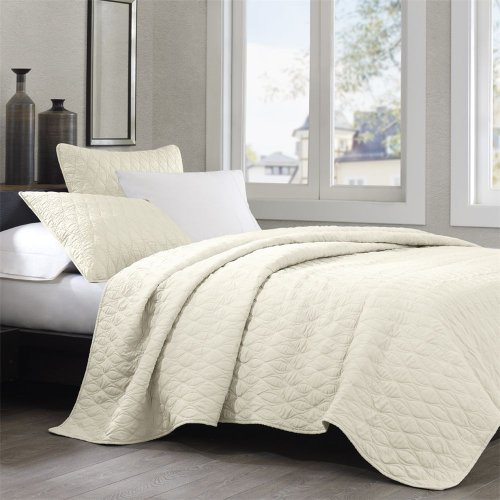Echo Diamond Geo King Coverlet, Ivory