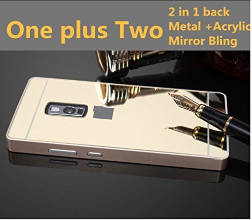 OnePlus Two case Luxury 2 in 1 Metal Aluminium Frame + Mirror Acrylic Back Cover Case for One Plus Two 2 Phone Shell by Delhisalesmart- Golden