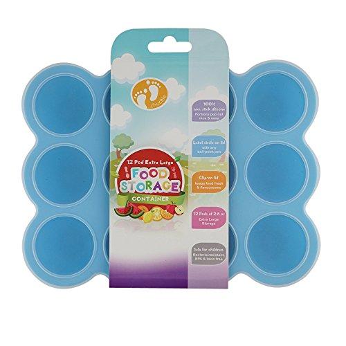 Chuckle-12-Abteile-EXTRA-AUFBEWAHRUNG-Silikon-Gefrierbehlter-fr-Babynahrung-fr-Tiefkhler-Mikrowelle-Geschirrwaschmaschine-BPA-frei-mit-sicherem-DeckelBlau