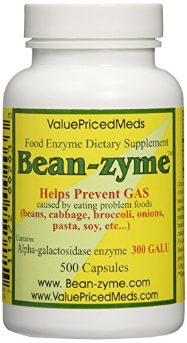 Bean-zyme Anti-Gas Digestive Aid, 500 Capsules per bottle, Compare to Beano