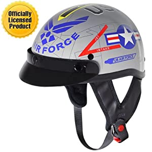 Outlaw T-70 Glossy Motorcycle Half Helmet with US-Air-Force Graphics Officially - Medium