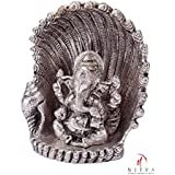 Silver Plated Ganesha Shank Oxidized Silver Finish With Velvet Box God Idol Gift For Diwali,New Year,House Warming...