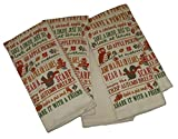 Fall Things Words Squirrel Owl Apple Leaves Pumpkin Dish Towels Set (5 Items)