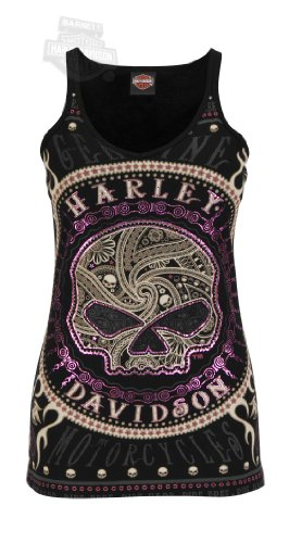 Harley-Davidson Womens Gates Of Skulls Rhinestones and Foil V-Neck Black Sleeveless Tank