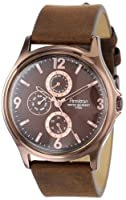Armitron Men's 20/4858BNBNBN Rose Gold Ion-Plated Stainless Steel and Brown Leather Watch from Armitron