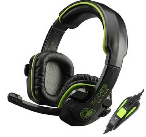Amtonseeshop Green Sades Stereo Gaming Headset With Hidden Microphone For Pc Laptop White