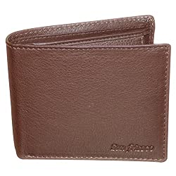 Style98 Pure Leather Brown Men Slim Wallet with Card Holder & Coin Pocket