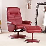 Holly & Martin Naomi Bonded Leather Recliner and Ottoman-Brick