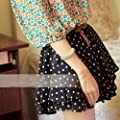 Picama Girls Retro Pleated Polka Dot Chiffon Skirt Mini Dress Shorts w/Belt US4