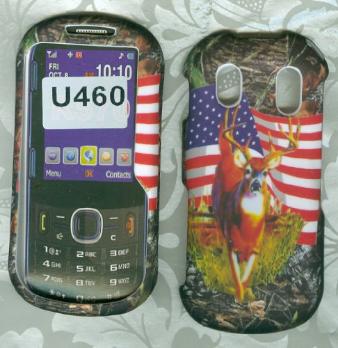 Samsung Intensity Ii 2 U460 Verizon Snap on Hard Case Shell Cover Protector Faceplate Rubberized Wireless Cell Phone Accessory Camo Usa Flag Deer