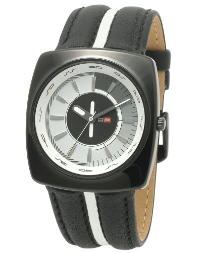 DFactory Men's DFI006WBW White Label White and Gray Dial Black Leather Watch