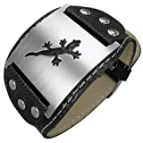 New Mens Black Cuff Style Pvc Bracelet with Stainless Steel Lizard Design, Length 22cms.