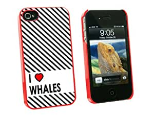 Graphics and More I Love Heart Whales Snap-On Hard Protective Case for Apple iPhone 4/4S - Non-Retail Packaging - Red