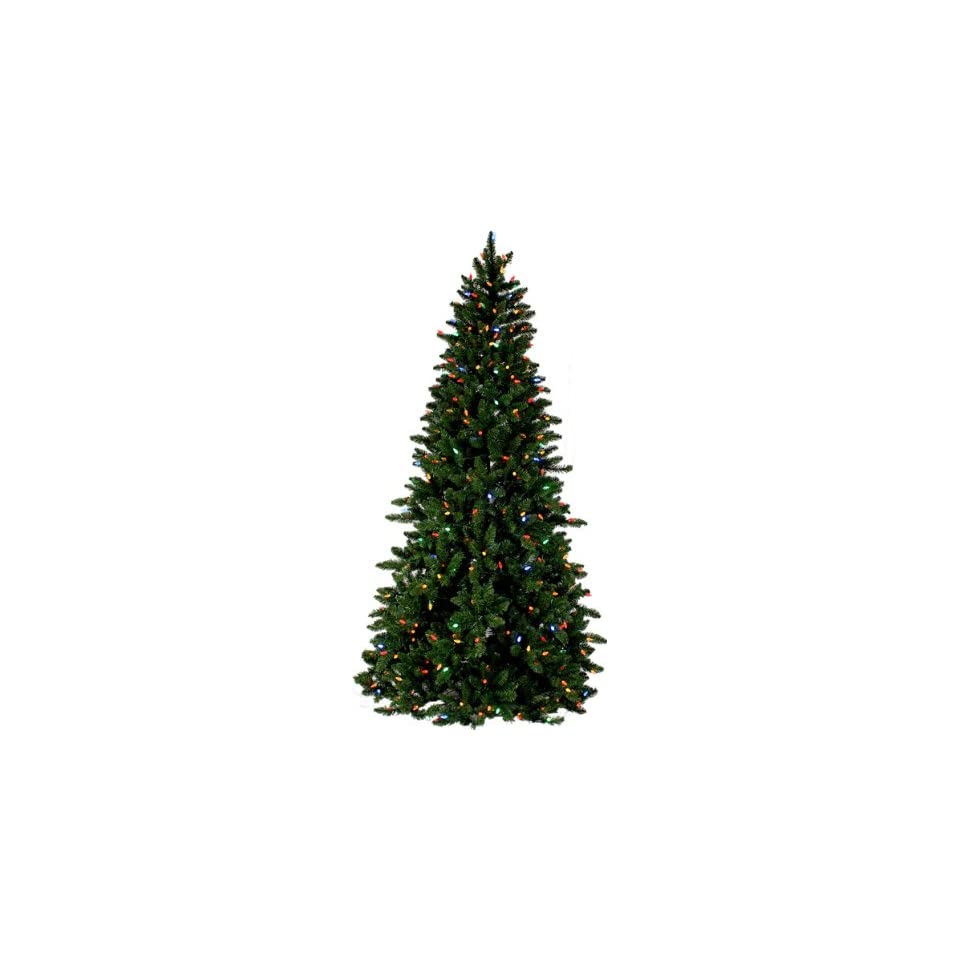 PRE LIT SPRUCE CHRISTMAS TREE   7.5 TALL   400 MULTI COLOR LED LIGHTS