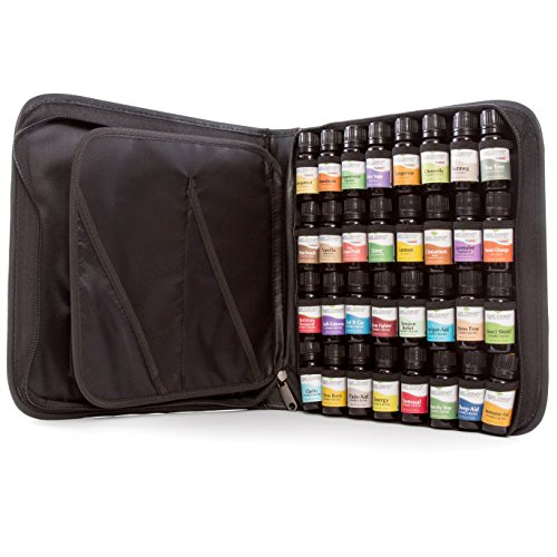 Top 32 Essential Oil Set in Zippered Portfolio Case- 16 Top Singles and 16 Top Synergies. Clary Sage, Bergamot, Tea Tree, Chamomile Roman, Cinnamon Cassia, Peppermint Supreme, Frankincense Serrata, Pine, Sweet Orange, Patchouli, Eucalyptus Globulus, Ylang