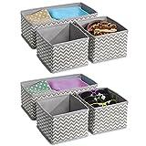 interDesign Chevron Aufbewahrungsbox aus Stoff für Schrank-/Kommodenschubladen, für Unterwäsche, Socken, BHs, Strumpfhosen, Leggings - 2 x 3er Set, Taupe/Natur