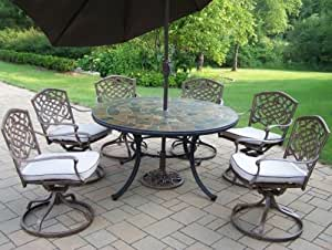 Oakland Living Stone Art 54-Inch Table, 7-Piece Swivel Dining Set with Cushions Plus 9-Feet Tilting Brown Umbrella and Stand