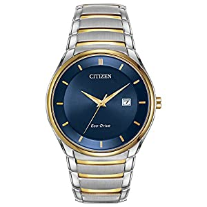 Citizen Watch Men's Quartz Watch with Blue Dial Analogue Display and Two Tone Stainless Steel Bracelet BM6954-59L