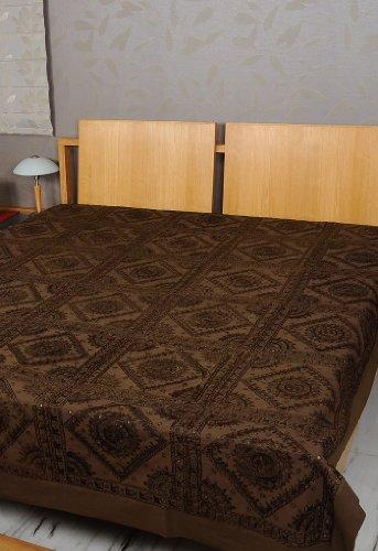 Imagen 1 de Tamaño de rosca doble bordado y trabajo Mirror Brown Colcha de algodón de tamaño 86 x 102 pulgadas