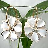 Navachi 18k Gold Plated White Enamel Flower Crystal Az2461e Hoop Earrings(dia. 3cm)